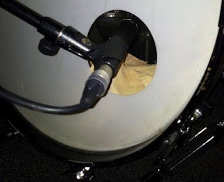 Shure SM57 being used as a kick drum microphone