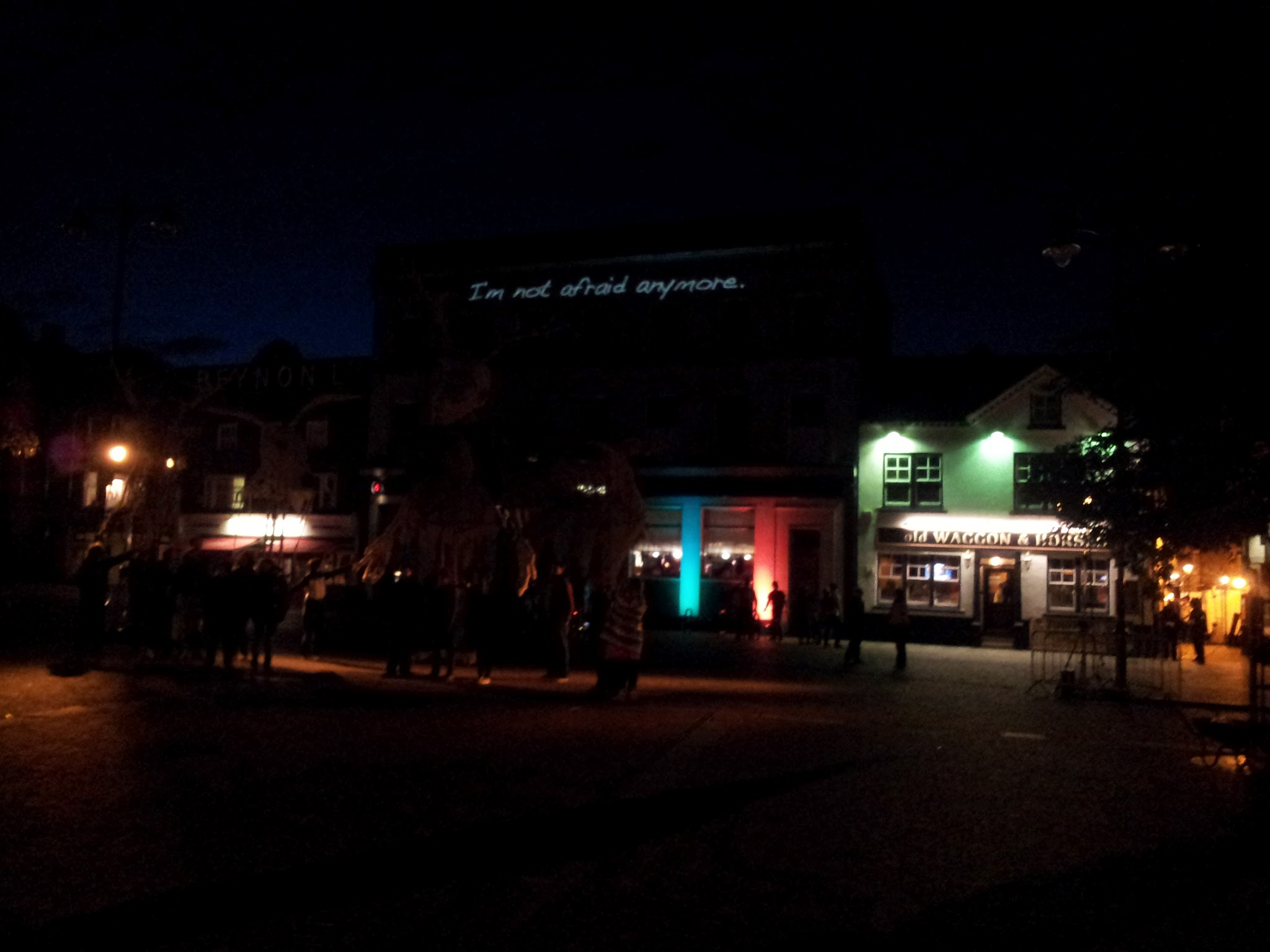 End result of the projection onto a building late at night