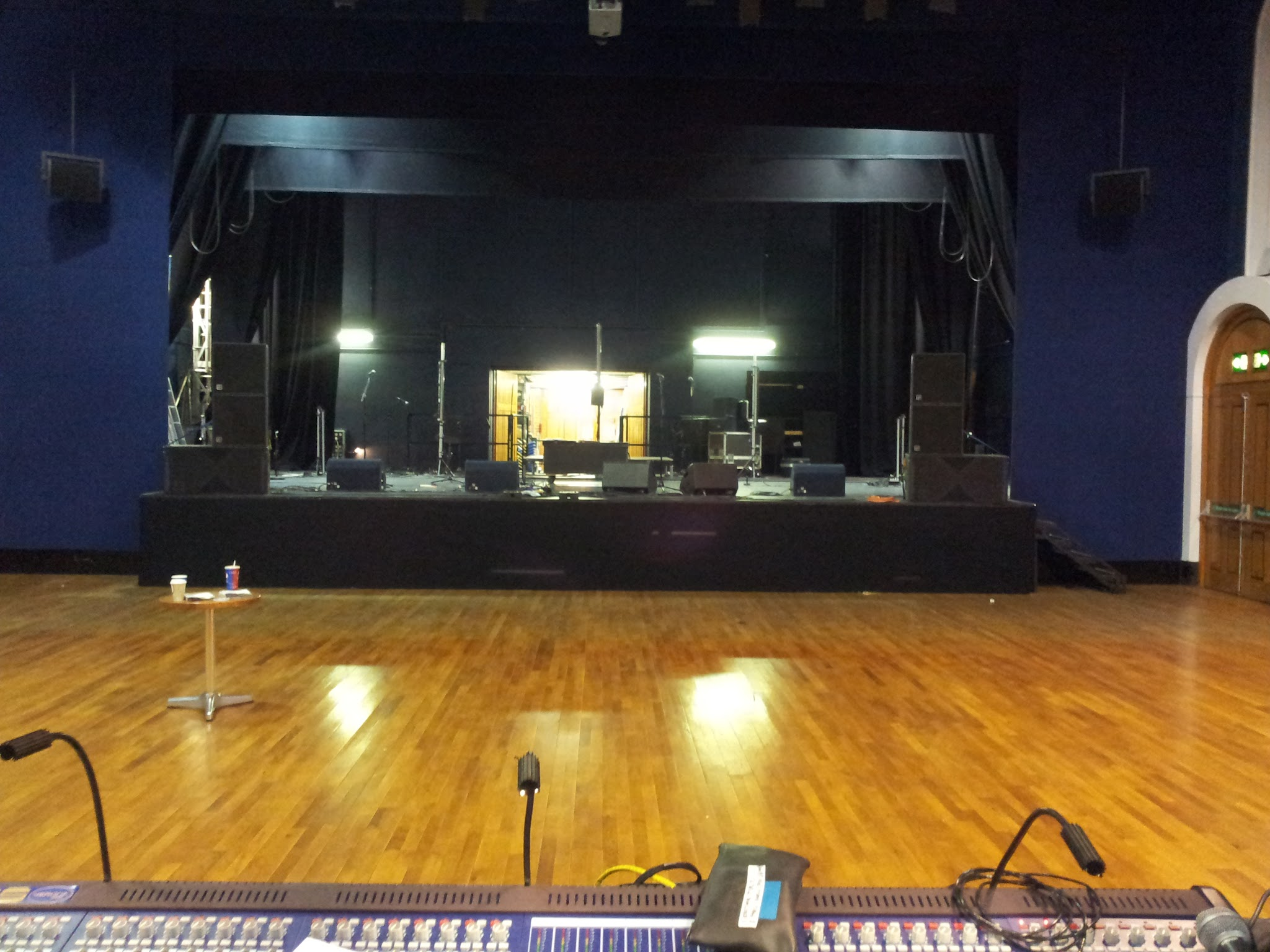 Stage in Working light showing the FOH PA